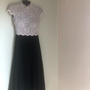 City Studio - Silver/Black two piece lace dress